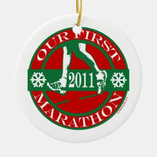 Our First Marathon Ceramic Ornament