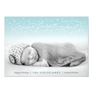 "Our First Noel Aqua Holiday Photo Card 5"" X 7"" Invitation Card"