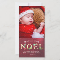 Our First NOEL Christmas Poinsettia Holiday Photo