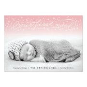 Our First Noel Pink Holiday Photo Card Personalized Invites