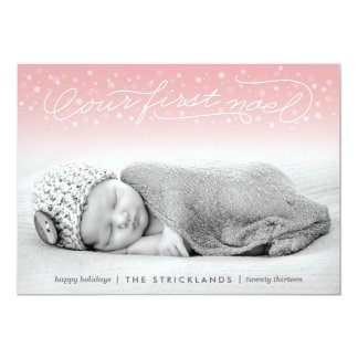 "Our First Noel Pink Holiday Photo Card 5"" X 7"" Invitation Card"