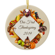 Our First Thanksgiving Turkey Animals Ceramic Ornament