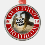 Our First Triathlon Christmas Ornament