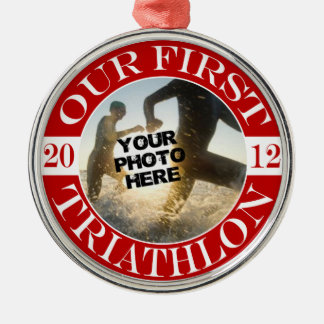 Our First Triathlon Round Metal Christmas Ornament