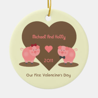 Our First Valentine's Day Pigs and Hearts Double-Sided Ceramic Round Christmas Ornament