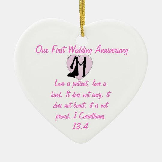 First Wedding Anniversary.Our First Wedding Anniversary Heart Ornament