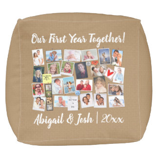 Our First Year Together Memories Cork Board Pouf