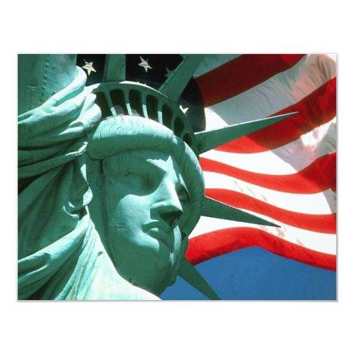 "our flag and liberty INVITATION CARD 4.25"" X 5.5"" Invitation Card"
