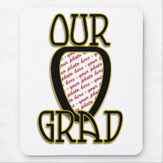OUR GRAD  Black & Gold School Colors Frame Mouse Pad