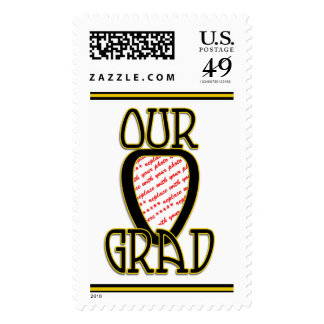 OUR GRAD  Black & Gold School Colors Frame Postage