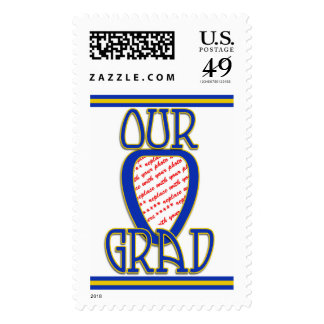 OUR GRAD  Blue & Gold School Colors Frame Postage