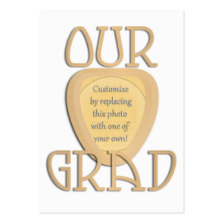 OUR GRAD - Gold Graduation Photo Frame Large Business Cards (Pack Of 100)