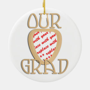 OUR GRAD - Gold Graduation Photo Frame Ceramic Ornament