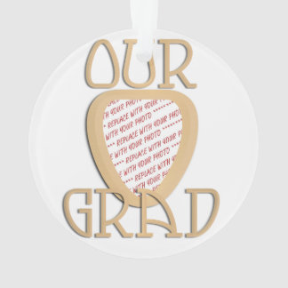 OUR GRAD - Gold Graduation Photo Frame Ornament