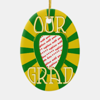 'OUR GRAD' Green & Gold Photo Frame - ZOOM! Ceramic Ornament