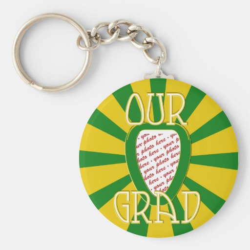 'OUR GRAD' Green & Gold Photo Frame - ZOOM! Basic Round Button Keychain