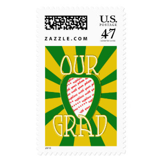 'OUR GRAD' Green & Gold Photo Frame - ZOOM! Postage Stamp
