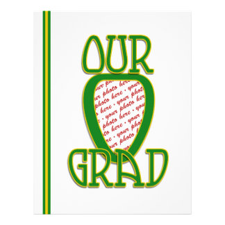 OUR GRAD Green & Gold School Colors Photo Frame Flyer