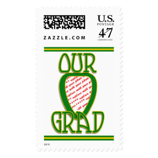 OUR GRAD Green & Gold School Colors Photo Frame Postage Stamp