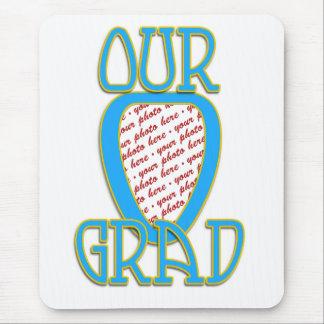 OUR GRAD  Lt Blue & Gold School Colors Frame Mouse Pad