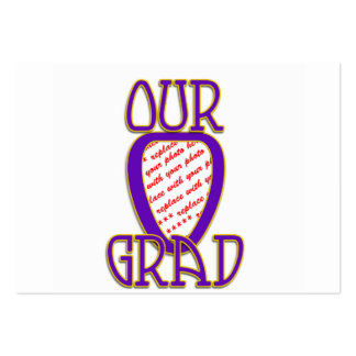 OUR GRAD Purple & Gold School Colors Frame Large Business Cards (Pack Of 100)