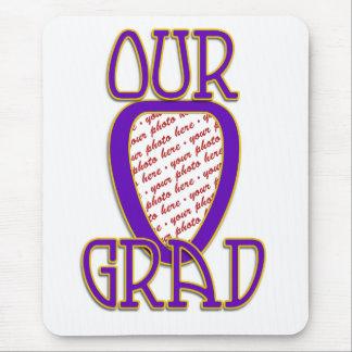 OUR GRAD Purple & Gold School Colors Frame Mouse Pad