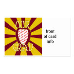 'OUR GRAD' Red & Gold Photo Frame - ZOOM! Double-Sided Standard Business Cards (Pack Of 100)
