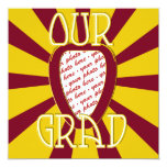 'OUR GRAD' Red & Gold Photo Frame - ZOOM! 5.25x5.25 Square Paper Invitation Card