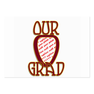 OUR GRAD Red & Gold School Colors Frame Large Business Cards (Pack Of 100)