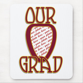 OUR GRAD Red & Gold School Colors Photo Frame Mouse Pad