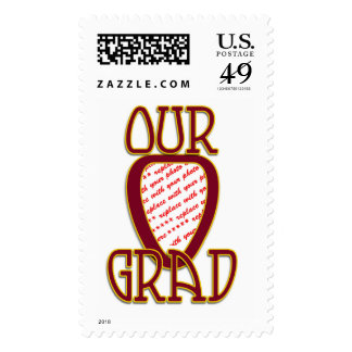 OUR GRAD Red & Gold School Colors Photo Frame Postage