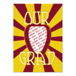 """OUR GRAD Red School Colors 'ZOOM' Frame 5"""" X 7"""" Invitation Card"""