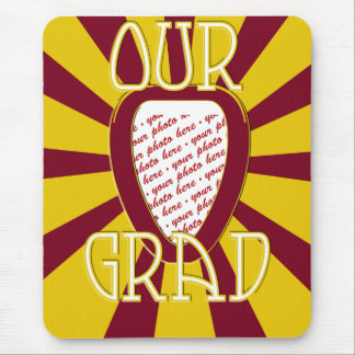 OUR GRAD Red School Colors 'ZOOM' Frame Mouse Pad