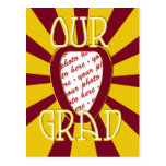 OUR GRAD Red School Colors 'ZOOM' Frame Postcard