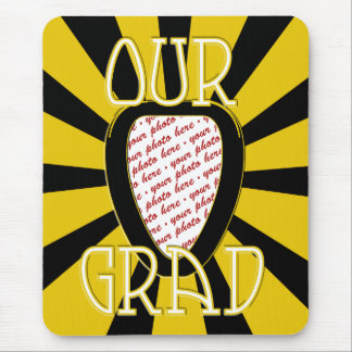 OUR GRAD School Colors Gold&Black  'ZOOM' Frame Mouse Pad