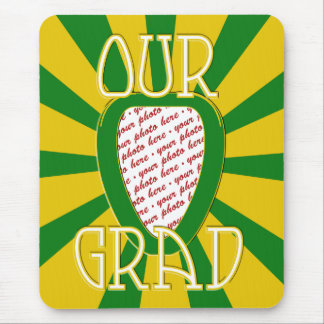 OUR GRAD School Colors Green & Gold 'ZOOM' Frame Mouse Pad