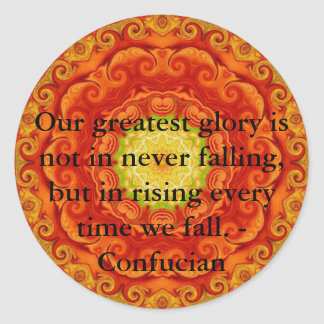 Our greatest glory is not in never falling, but... classic round sticker