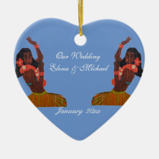 Our Hawaiian Wedding Heart in Sand Memento Ceramic Ornament