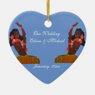 Our Hawaiian Wedding Heart in Sand Memento Ceramic Ornament