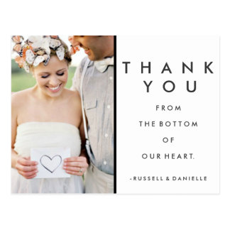 Our Heart Wedding Thank You Photo Postcards