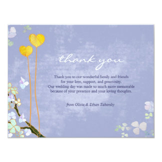 Our Hearts Rustic Blue Wedding Thank You Card