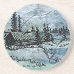 "Our home sandstone coaster<br><div class=""desc"">Look beyond then,  see how far Our home,  when last I saw it,  Richly tinted,  brightly beaming,  New hope,  new love,  new life,  new cheer. On the mountainside,  a home in the forest,  drawing by B. Sherdahl tinted blue</div>"