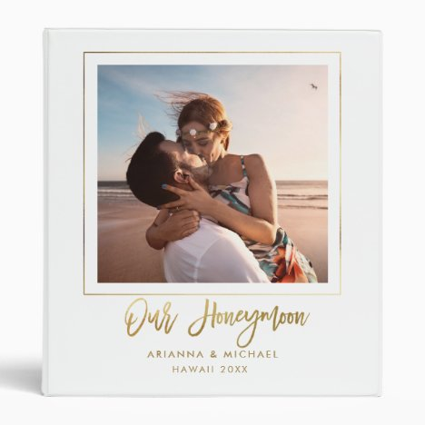 Our Honeymoon Gold Script Hand-lettered Chic Photo 3 Ring Binder