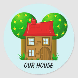 Our House Cartoon House and Trees Classic Round Sticker