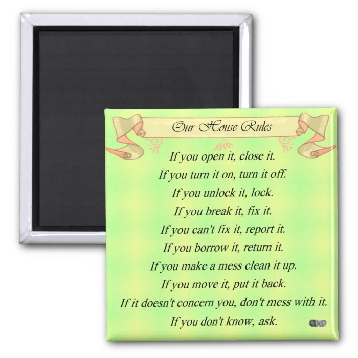 Our House Rules 2 Inch Square Magnet