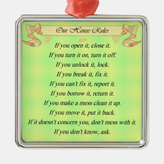 Our House Rules Metal Ornament