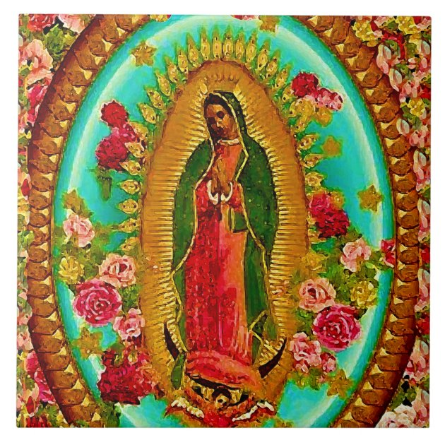 VIRGIN OF GUADALUPE Our Lady of Guadalupe Virgin Mary Tile Pendant Necklace