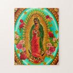 "Our Lady Guadalupe Mexican Saint Virgin Mary Jigsaw Puzzle<br><div class=""desc"">&quot;Our Lady of Guadalupe&quot;  &quot;Virgin Mary&quot; Mexican Mexico &quot;Native American&quot; Catholic Bohemian Boho Saint Goddess Christian Indigenous Ethnic Hispanic Latina &quot;Latin American&quot; Spanish Colonial Mayan Precolumbian Toltec Olmec &quot;Nuestra Senora de Guadalupe&quot; Catolica Espagnol Kitsch Southwest Southwestern Vintage Souvenir Holy Mother Jesus God Worship Religion Hippie Global Peace</div>"