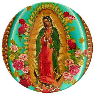 Our Lady Guadalupe Mexican Saint Virgin Mary Porcelain Plate