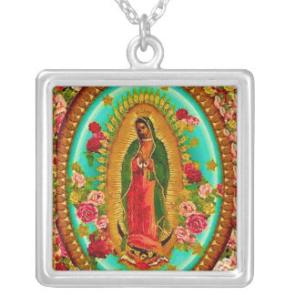 Our Lady Guadalupe Mexican Saint Virgin Mary Silver Plated Necklace